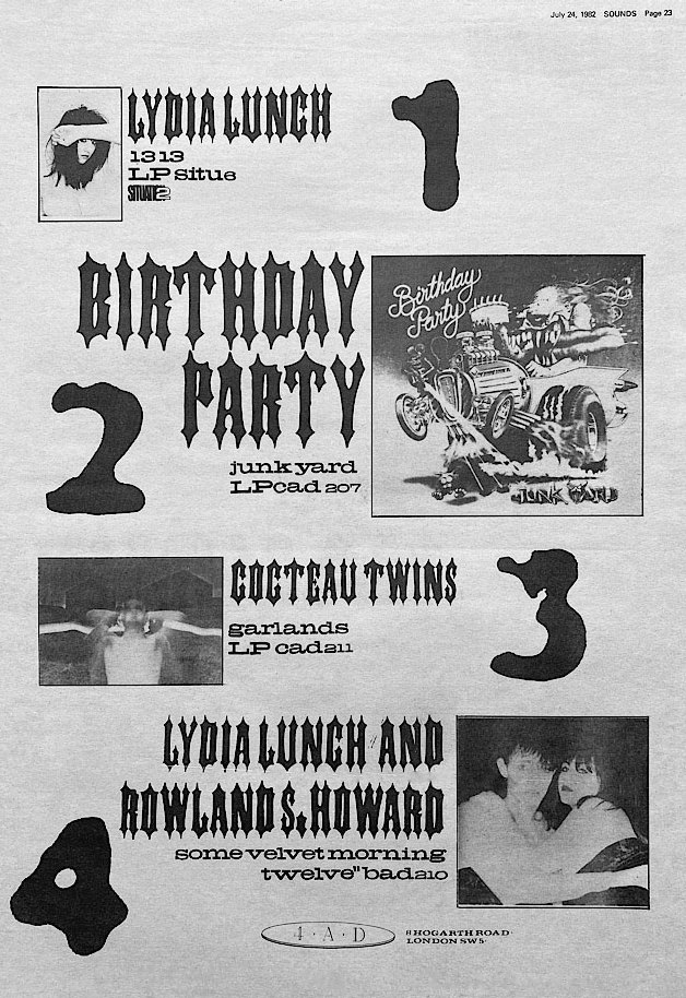 4AD/Situation 2 comboned press advert including Cocteau Twins 'Garlands' LP from Sounds magazine issue dated 24 July 1982