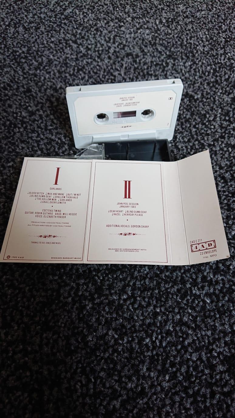 Cocteau Twins 'Garlands' 1983 cassette edition inlay spread - reverse