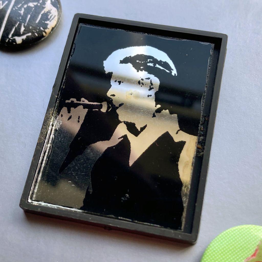 David Bowie mirror badge - 'Thin White Duke'/Station To Station era design