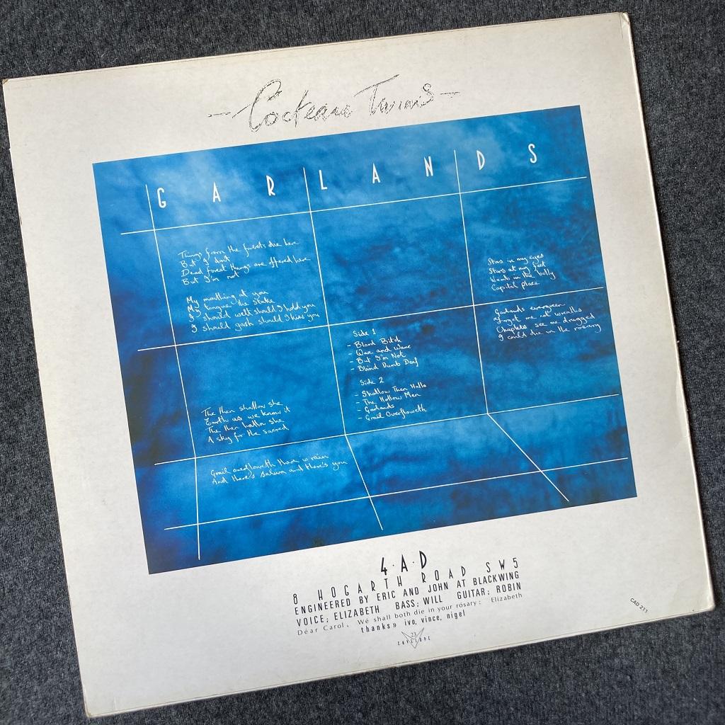 Cocteau Twins 'Garlands' UK 1982 LP rear cover design
