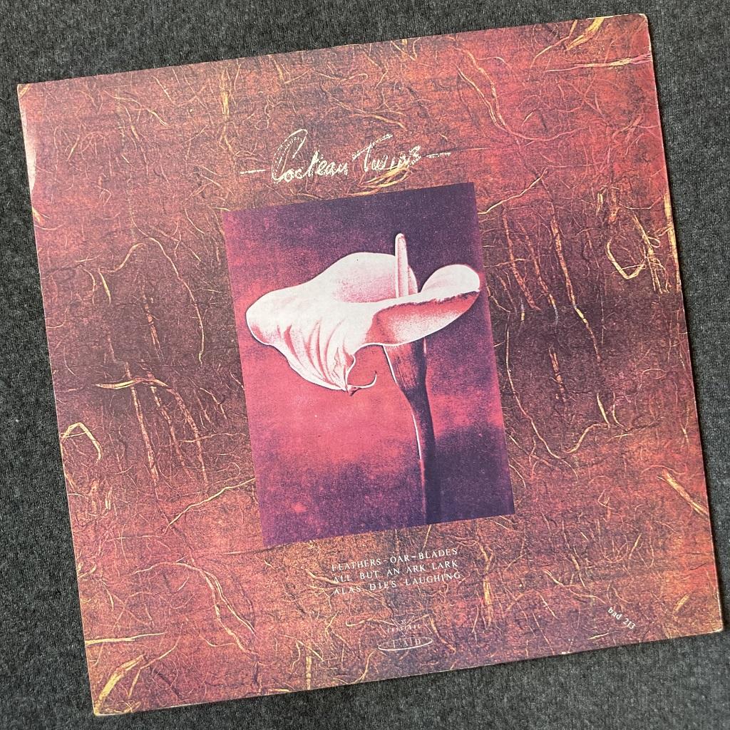 """Cocteau Twins 'Lullabies' UK 1982 12"""" EP rear cover design"""