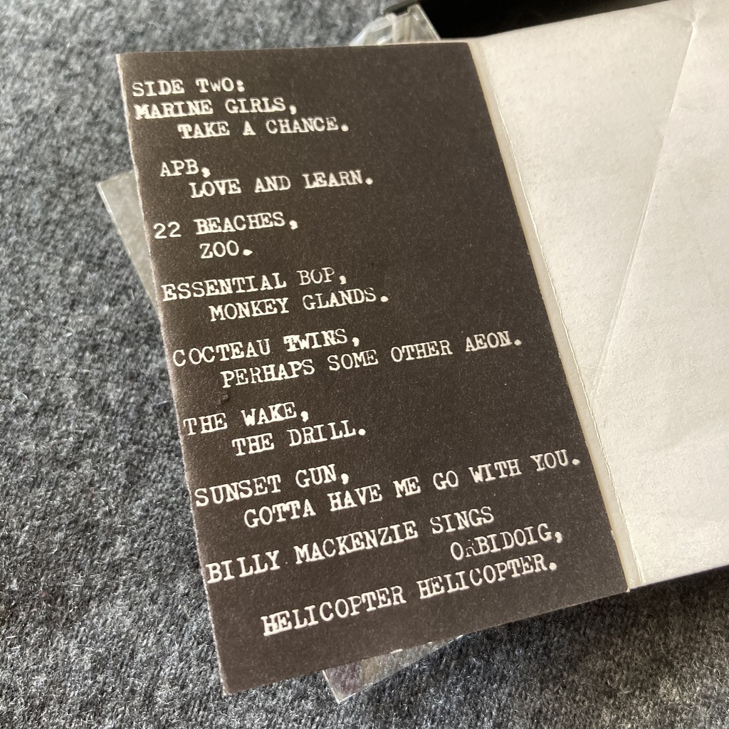 Various artists 'Pleasantly Surprised! An Hour of Eloquent Sounds' cassette inlay tracklisting 2