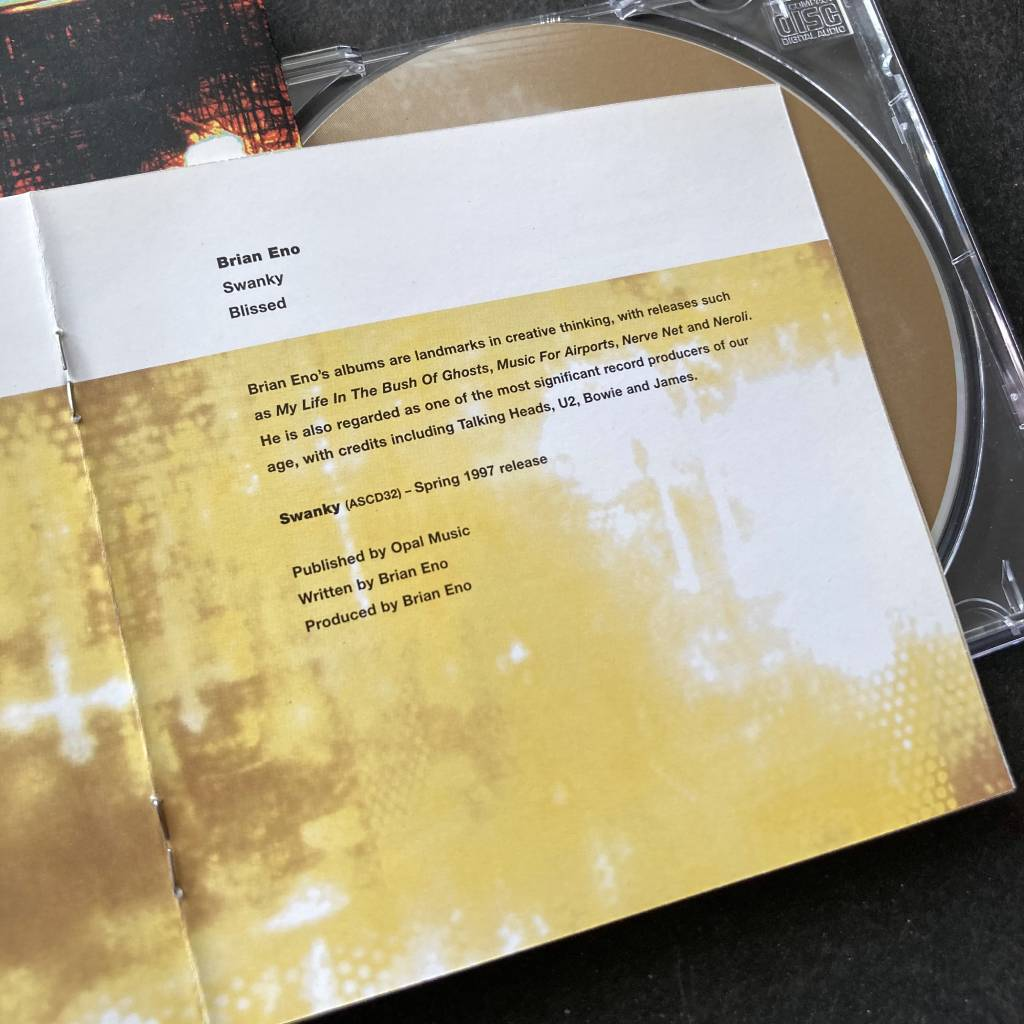 ^ All Saints label compilation CD 'Glitters Is Gold' - insert excerpt highlighting forthcoming Brian Eno album 'Swanky' (aka 'The Drop')