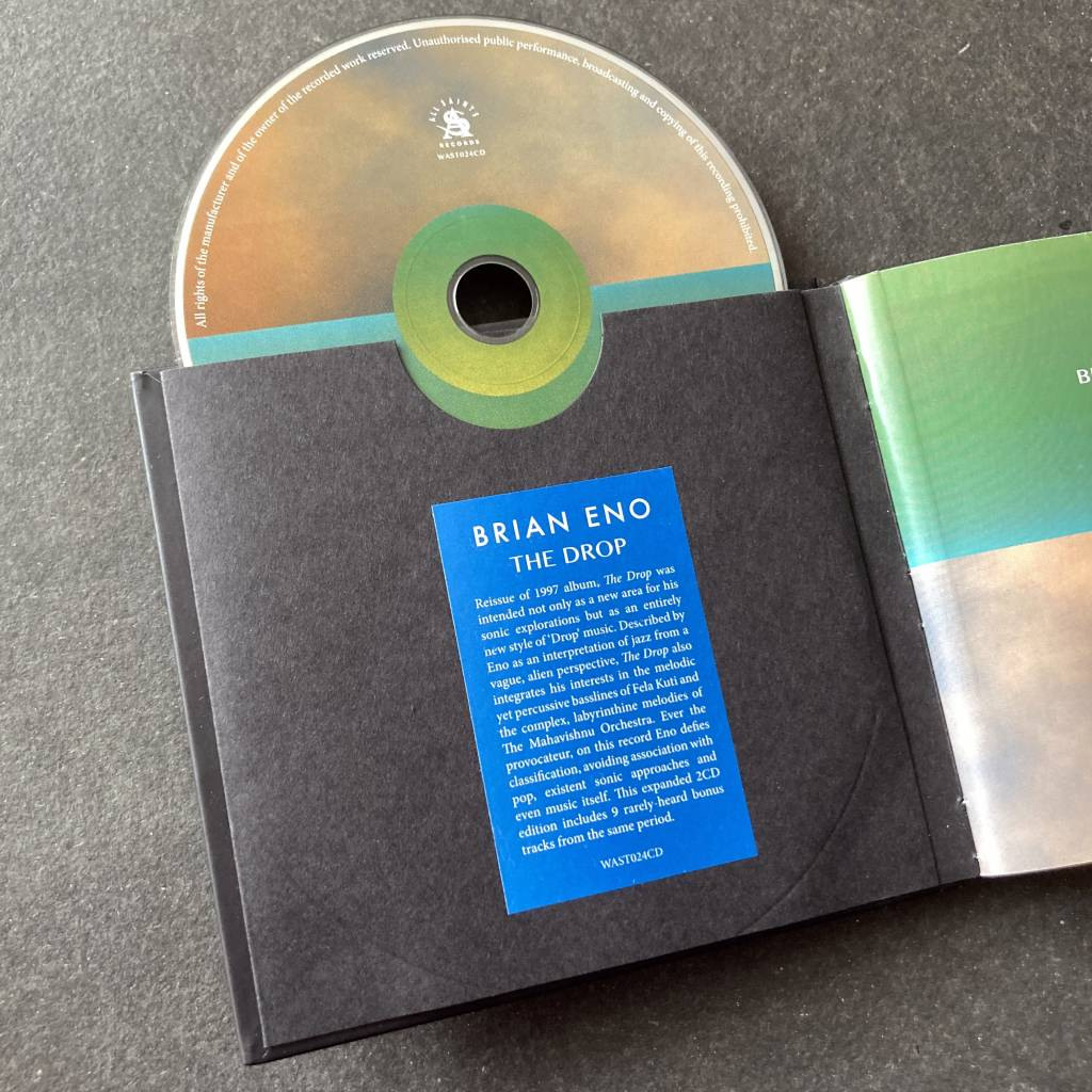 Brian Eno - 'The Drop' - 2014 2 x CD Deluxe edition - disc 1 in pouch with re-attached hype sticker