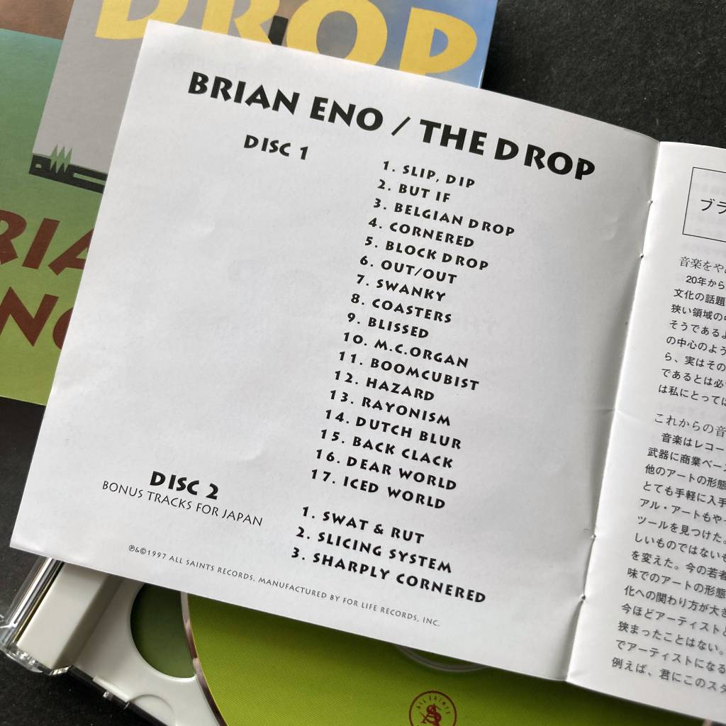 Brian Eno - 'The Drop' - 1997 Japanese 2 x CD edition - additional booklet - track listing