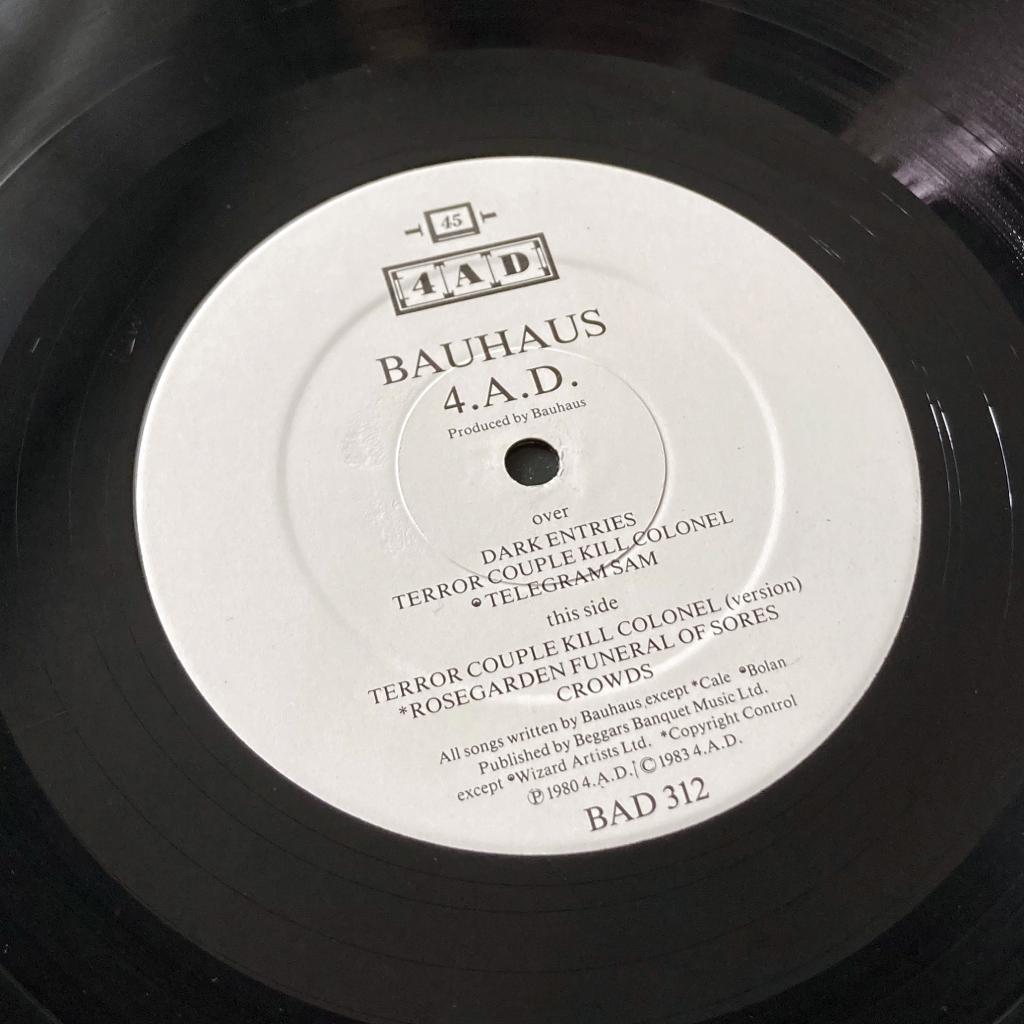Bauhaus - '4AD' UK Mini-Album label design side 2 (white variant)
