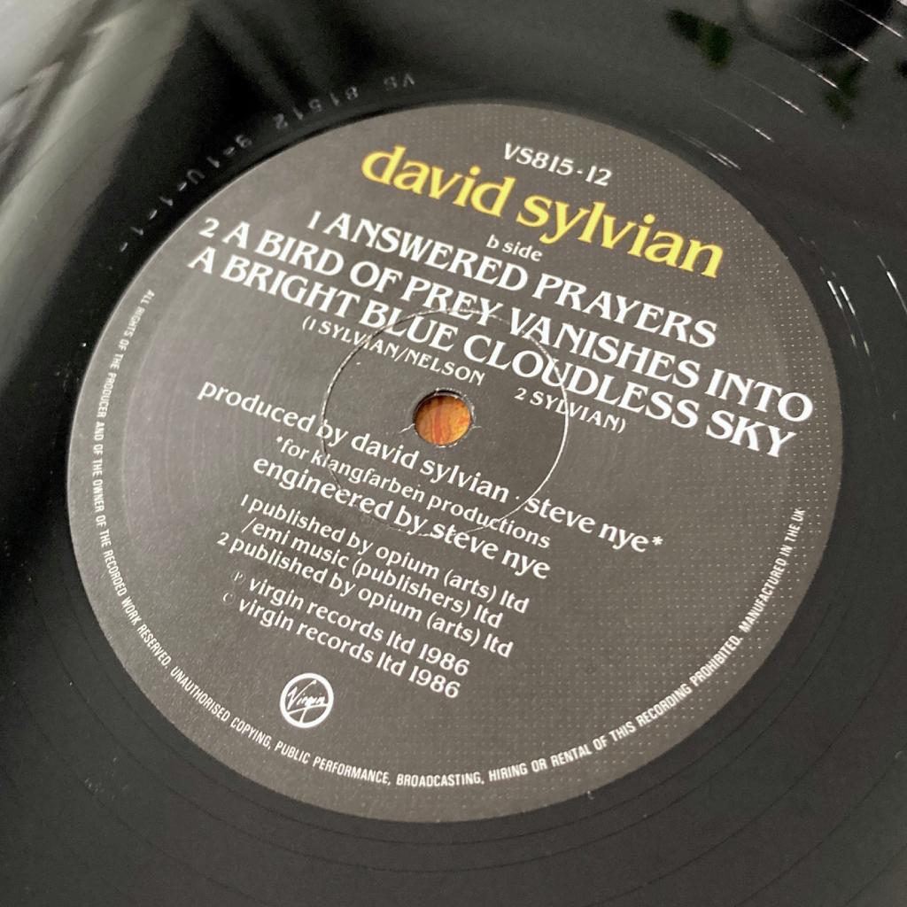 "David Sylvian - 'Taking The Veil' UK 12"" single - label side B"