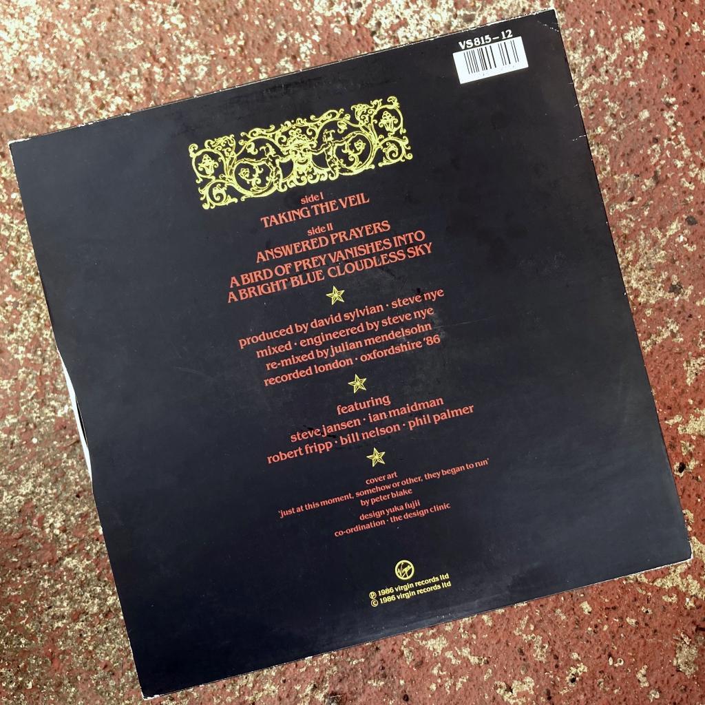 "David Sylvian - 'Taking The Veil' UK 12"" single rear cover design"