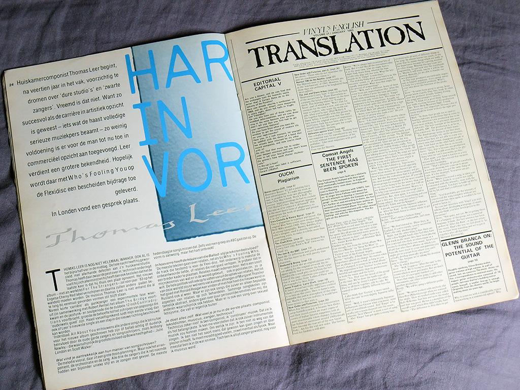 'Vinyl' Magazine January 1983 English translation supplement