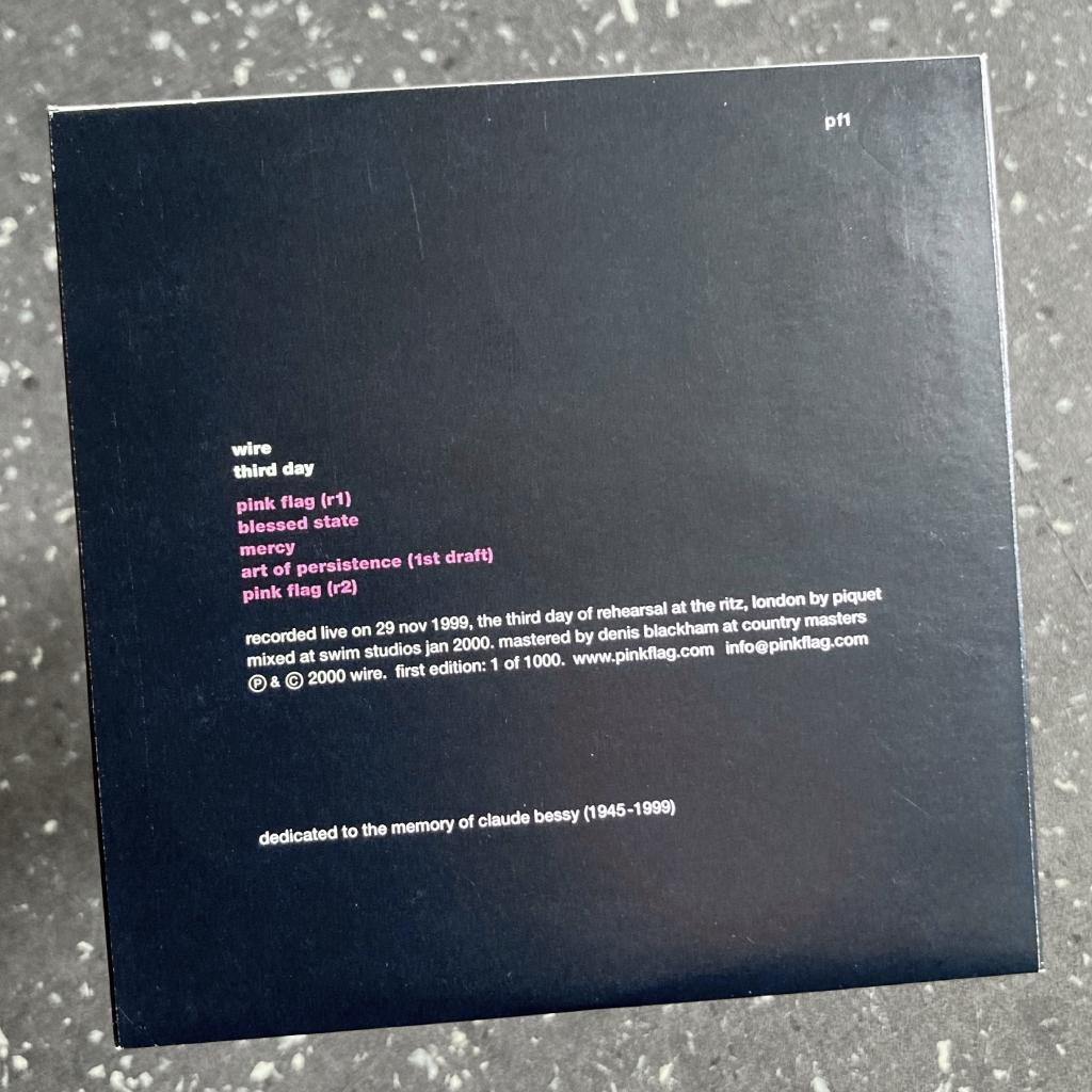 Wire - 'Third Day' CD EP reverse cover design